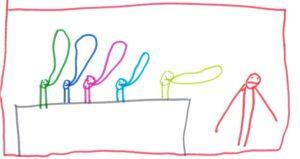 Fünf Männchen mit Sprechblasen am Tisch. Ein weiteres steht nebendran und guckt nicht glücklich.