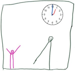 Eine kleines Männchen, das die Arme hochreißt - ein großes, das einen Schritt tut - eine Uhr, die 13 Uhr anzeigt.