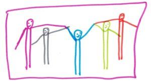 Nixklusionsmännchen, vier weitere Männchen reichen ihm eine Hand.