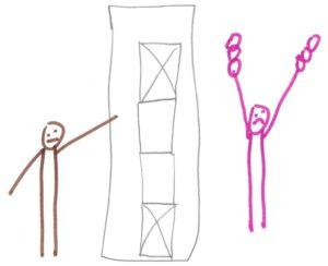 Ein Blatt mit Ankreuzfeldern. Ein grummeliges Männchen, das darauf zeigt. Rechts ein pinkes Männchen, das die Arme hochreißt und oben viele Kreise als Verlängerung der Arme hat.