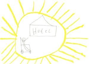 Ein Rollstuhl mit Nixklusionsmännchen, ein Hotel, eingerahmt von einer Sonne