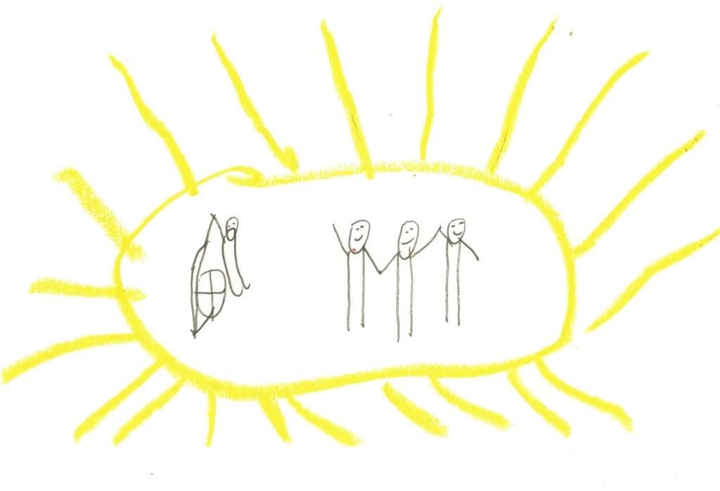 Drei Nixklusionsmännchen, die sich an der hand halten, und sich freuen. Eins, das abseits im Rollstuhl sitzt