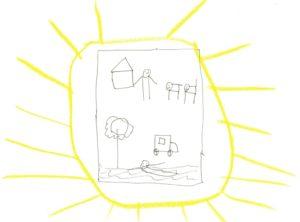 Zeichnungen auf einem Katalog: Häuser, Nixklusionsmännchen, Tiere, ein Auto, ein Baum, ein schwimmendes Männchen.