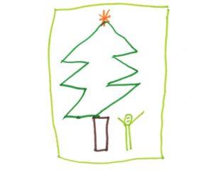 Ein Tannenbaum mit Stern, ein kleines Männchen daneben.