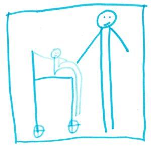 Ein kleines Nixklusionsmännchen im Rollstuhl, ein großes, das sein Hand hält.